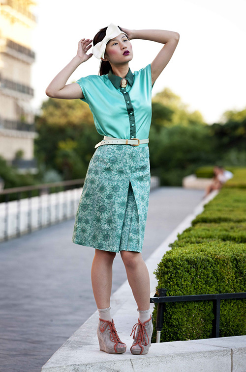 Green skirt and flowers shirt